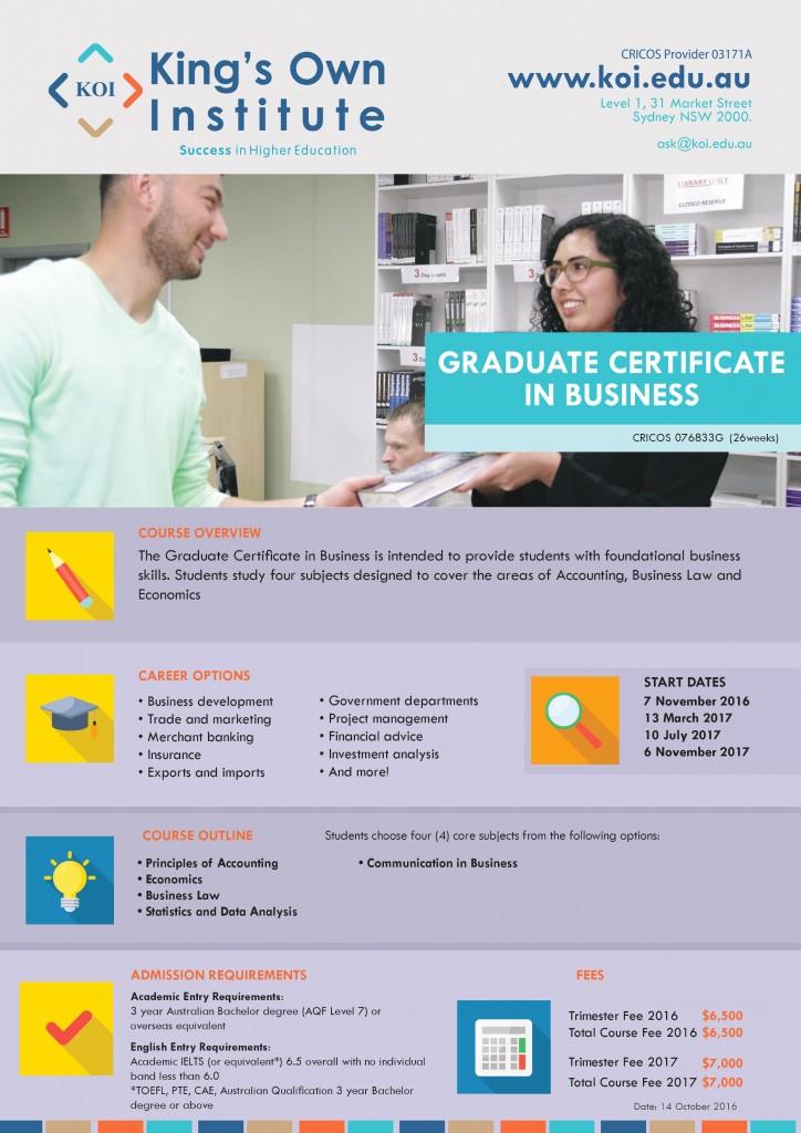 Graduate Certificate in Business