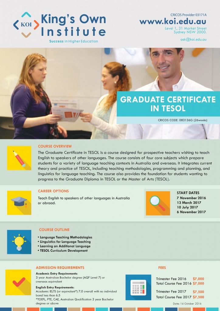 Graduate Certificate of TESOL