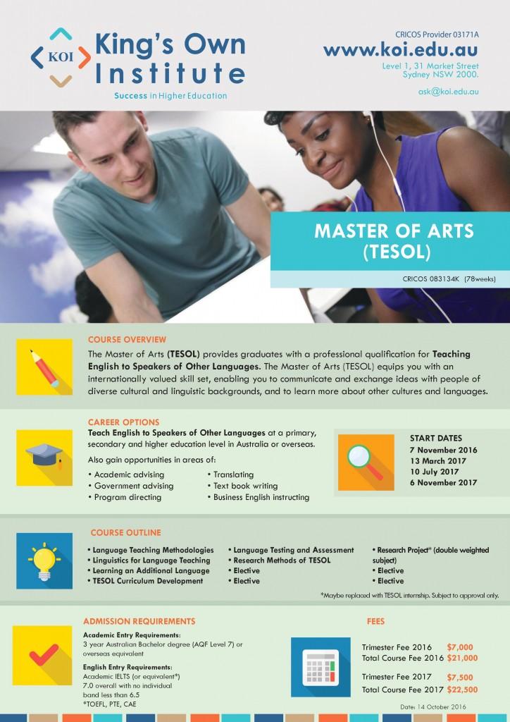 Master of Arts (TESOL)