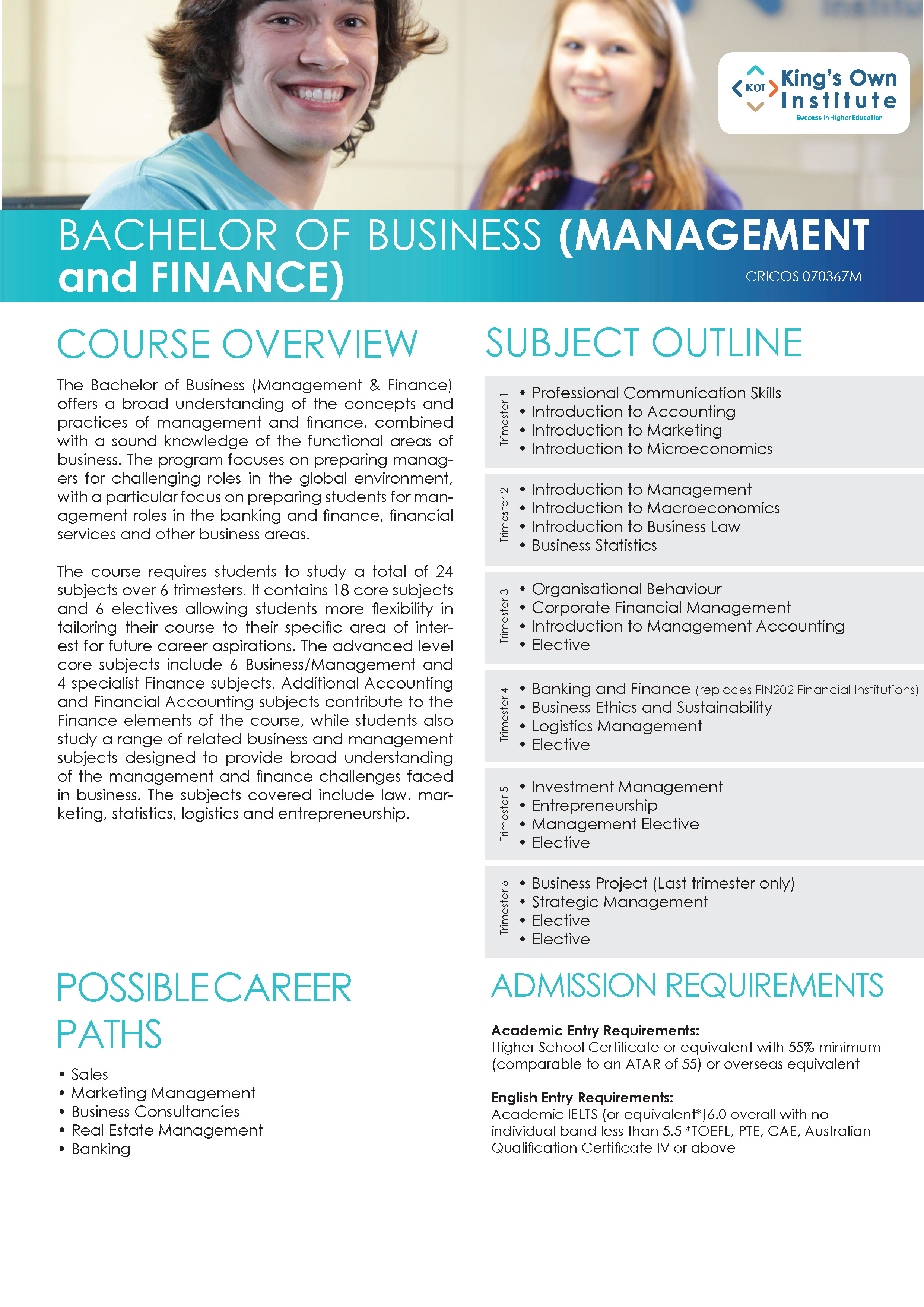 BACHELOR OF BUSINESS (MANAGEMENT and FINANCE)
