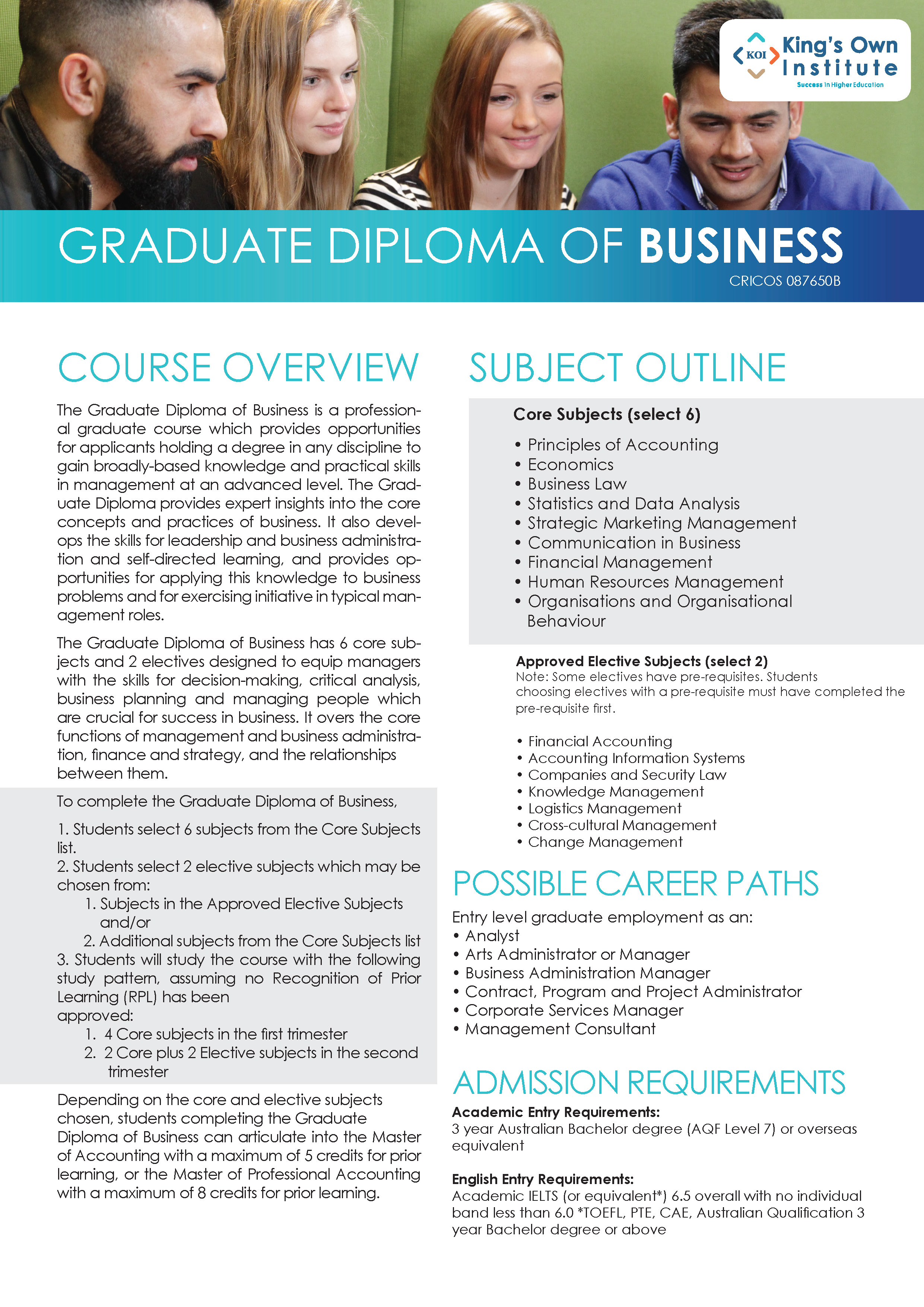 GRADUATE DIPLOMA OF BUSINESS
