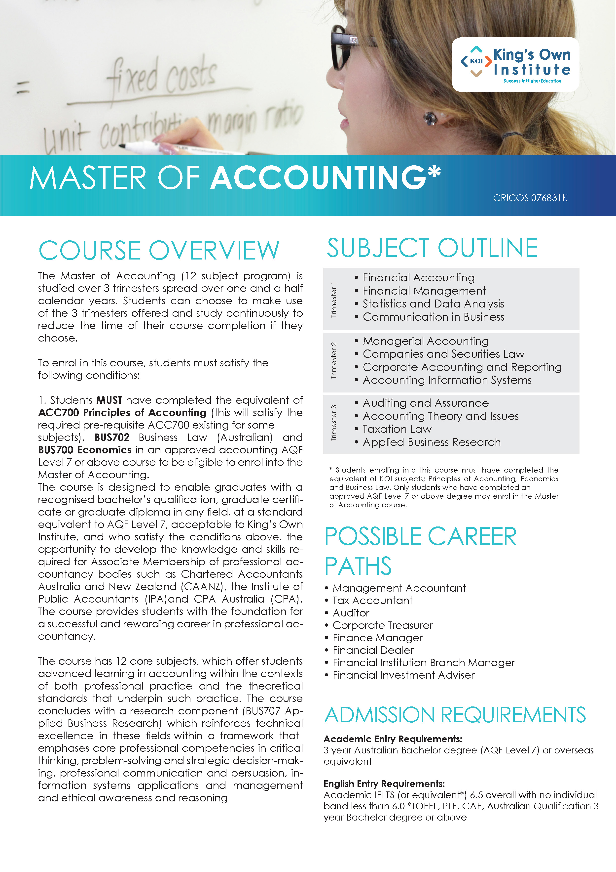 MASTER OF ACCOUNTING
