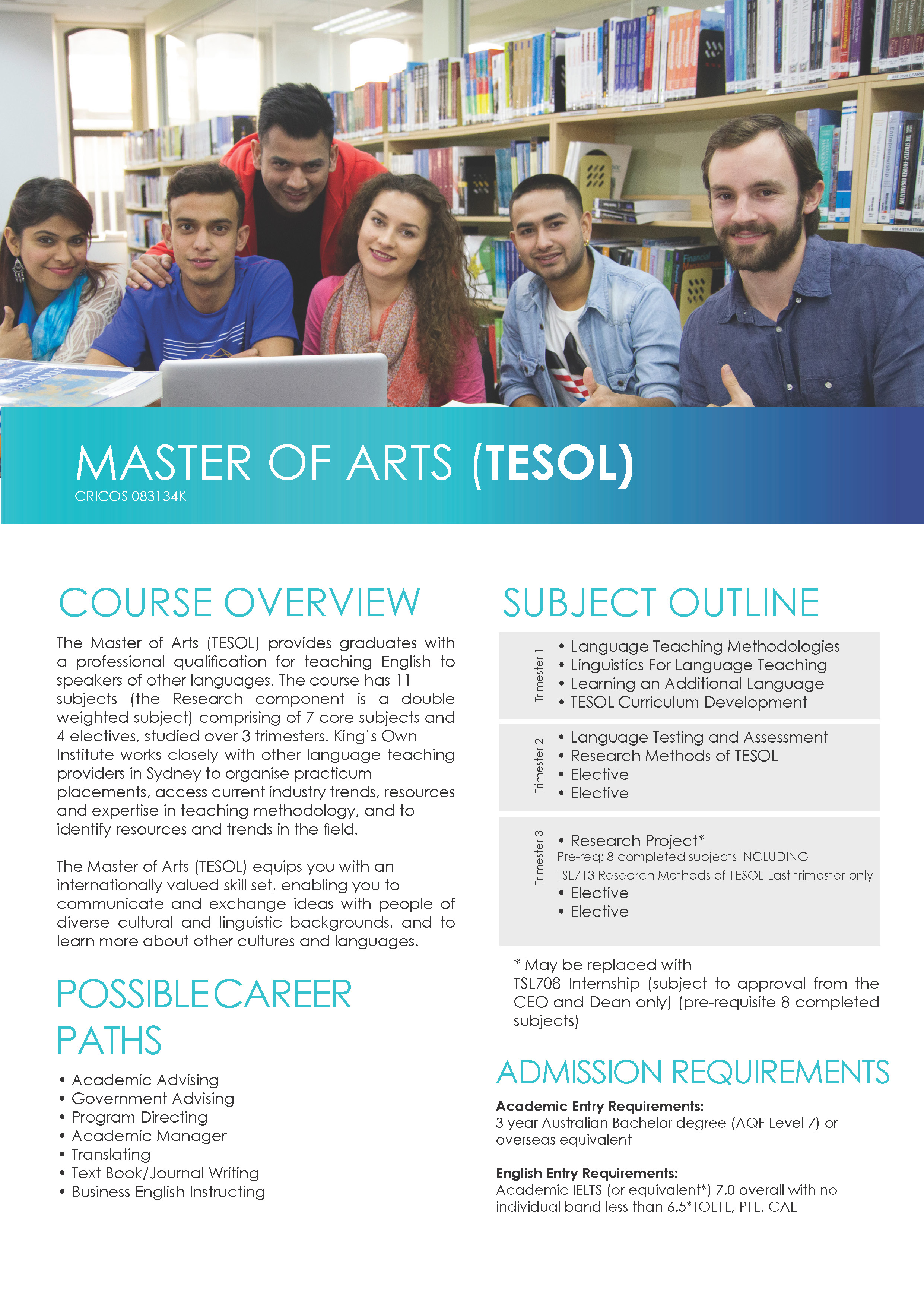 MASTER OF ARTS (TESOL)