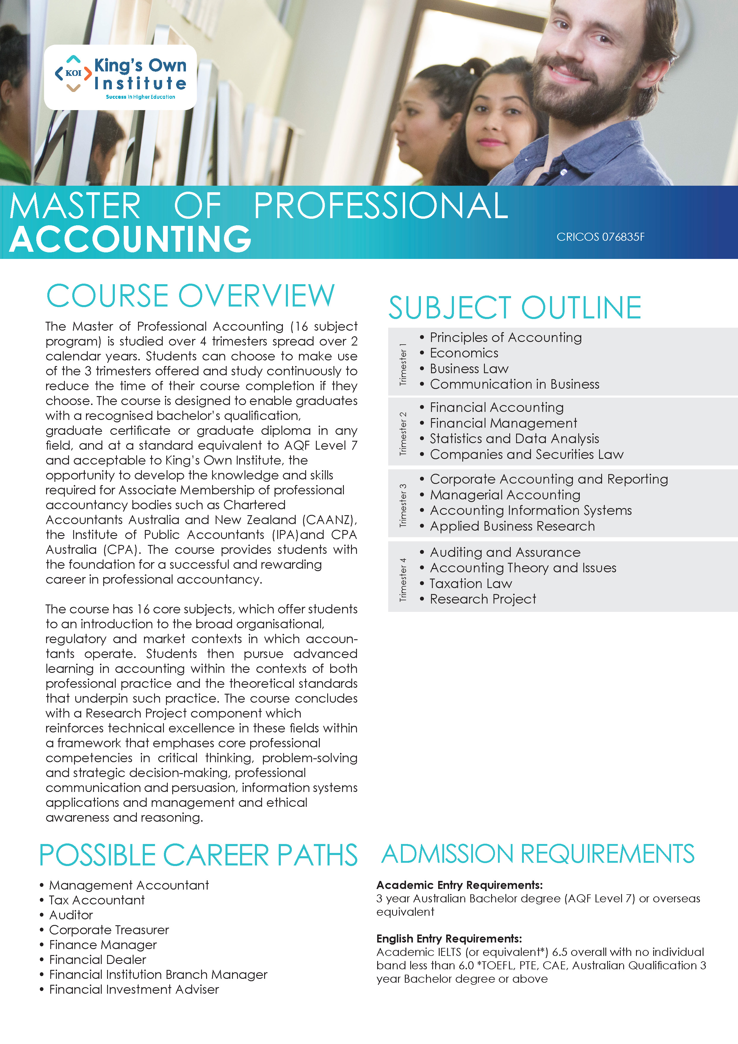 MASTER OF PROFESSIONAL ACCOUNTING